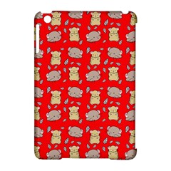 Cute Hamster Pattern Red Background Apple Ipad Mini Hardshell Case (compatible With Smart Cover)