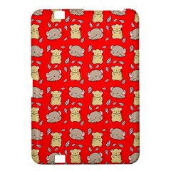 Cute Hamster Pattern Red Background Kindle Fire Hd 8 9
