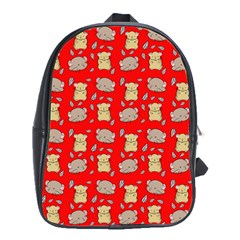 Cute Hamster Pattern Red Background School Bags (xl)