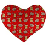 Cute Hamster Pattern Red Background Large 19  Premium Heart Shape Cushions Front