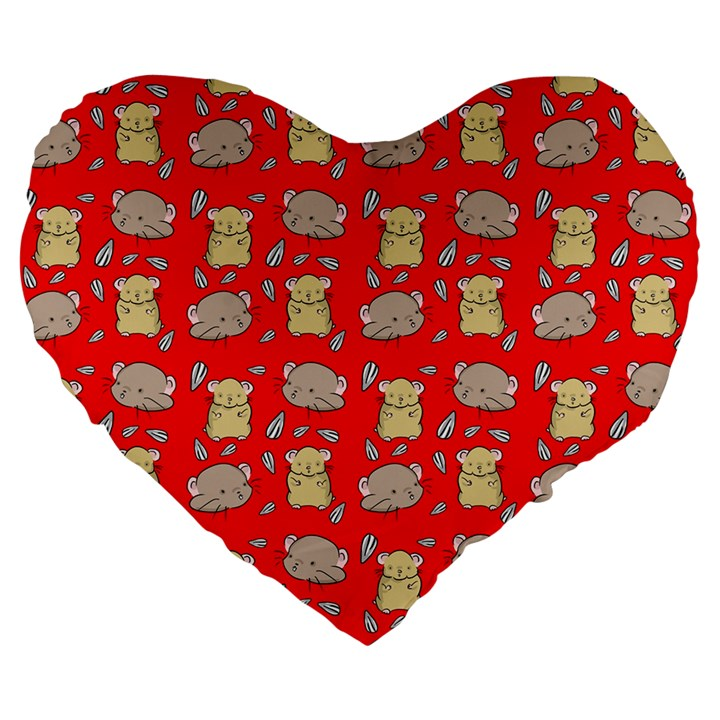 Cute Hamster Pattern Red Background Large 19  Premium Heart Shape Cushions