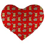 Cute Hamster Pattern Red Background Large 19  Premium Heart Shape Cushions Back