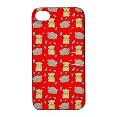Cute Hamster Pattern Red Background Apple Iphone 4/4s Hardshell Case With Stand