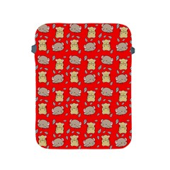 Cute Hamster Pattern Red Background Apple Ipad 2/3/4 Protective Soft Cases