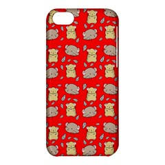 Cute Hamster Pattern Red Background Apple Iphone 5c Hardshell Case