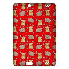 Cute Hamster Pattern Red Background Amazon Kindle Fire Hd (2013) Hardshell Case