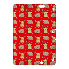 Cute Hamster Pattern Red Background Kindle Fire Hdx 8 9  Hardshell Case