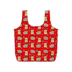 Cute Hamster Pattern Red Background Full Print Recycle Bags (s)