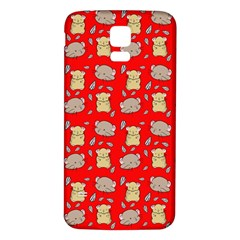 Cute Hamster Pattern Red Background Samsung Galaxy S5 Back Case (white)
