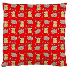 Cute Hamster Pattern Red Background Large Flano Cushion Case (one Side)