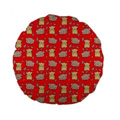 Cute Hamster Pattern Red Background Standard 15  Premium Flano Round Cushions