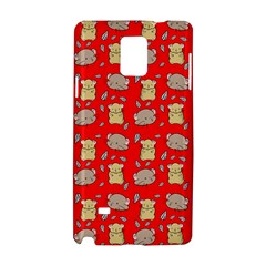 Cute Hamster Pattern Red Background Samsung Galaxy Note 4 Hardshell Case