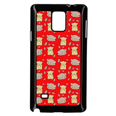 Cute Hamster Pattern Red Background Samsung Galaxy Note 4 Case (black)