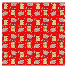 Cute Hamster Pattern Red Background Large Satin Scarf (square)