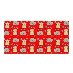 Cute Hamster Pattern Red Background Satin Wrap