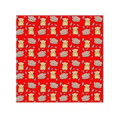 Cute Hamster Pattern Red Background Small Satin Scarf (square)