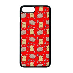 Cute Hamster Pattern Red Background Apple Iphone 7 Plus Seamless Case (black)