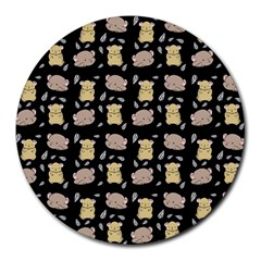 Cute Hamster Pattern Black Background Round Mousepads