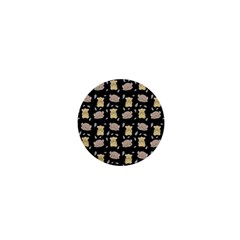 Cute Hamster Pattern Black Background 1  Mini Magnets