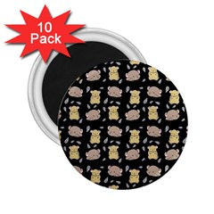 Cute Hamster Pattern Black Background 2 25  Magnets (10 Pack)