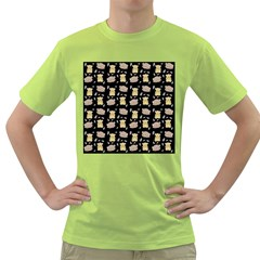 Cute Hamster Pattern Black Background Green T Shirt