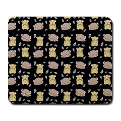 Cute Hamster Pattern Black Background Large Mousepads