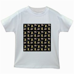 Cute Hamster Pattern Black Background Kids White T Shirts