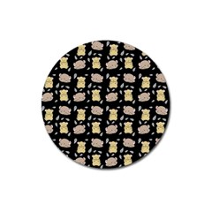 Cute Hamster Pattern Black Background Magnet 3  (round)