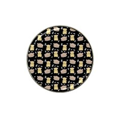 Cute Hamster Pattern Black Background Hat Clip Ball Marker (10 Pack)