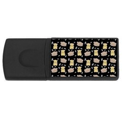 Cute Hamster Pattern Black Background Rectangular Usb Flash Drive