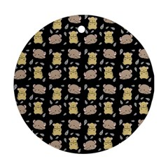 Cute Hamster Pattern Black Background Round Ornament (two Sides)
