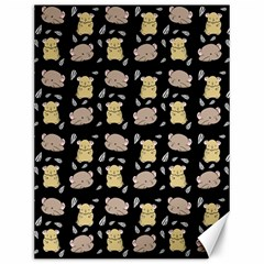 Cute Hamster Pattern Black Background Canvas 12  X 16