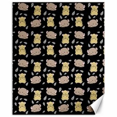 Cute Hamster Pattern Black Background Canvas 16  X 20