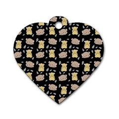 Cute Hamster Pattern Black Background Dog Tag Heart (one Side)