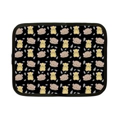 Cute Hamster Pattern Black Background Netbook Case (small)