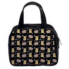 Cute Hamster Pattern Black Background Classic Handbags (2 Sides)