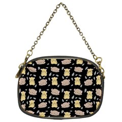 Cute Hamster Pattern Black Background Chain Purses (one Side)