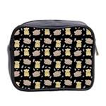 Cute Hamster Pattern Black Background Mini Toiletries Bag 2-Side Back