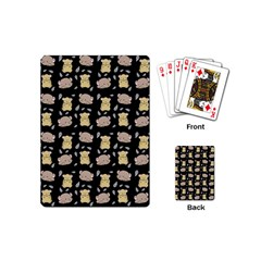 Cute Hamster Pattern Black Background Playing Cards (mini)