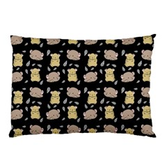 Cute Hamster Pattern Black Background Pillow Case (two Sides)
