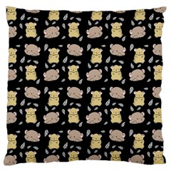 Cute Hamster Pattern Black Background Large Cushion Case (one Side)