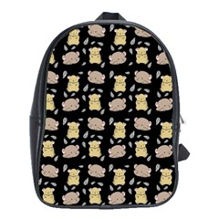 Cute Hamster Pattern Black Background School Bags (xl)