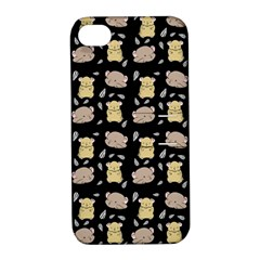 Cute Hamster Pattern Black Background Apple Iphone 4/4s Hardshell Case With Stand