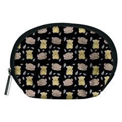Cute Hamster Pattern Black Background Accessory Pouches (medium)