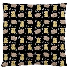 Cute Hamster Pattern Black Background Large Flano Cushion Case (one Side)