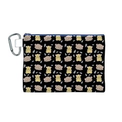 Cute Hamster Pattern Black Background Canvas Cosmetic Bag (m)