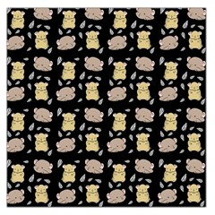 Cute Hamster Pattern Black Background Large Satin Scarf (square)