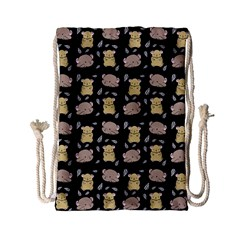 Cute Hamster Pattern Black Background Drawstring Bag (small)