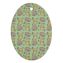 Cute Hamster Pattern Oval Ornament (two Sides)