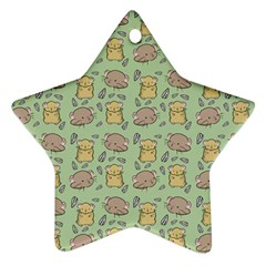 Cute Hamster Pattern Star Ornament (two Sides)